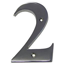Chrome Effect Brass House Number 2