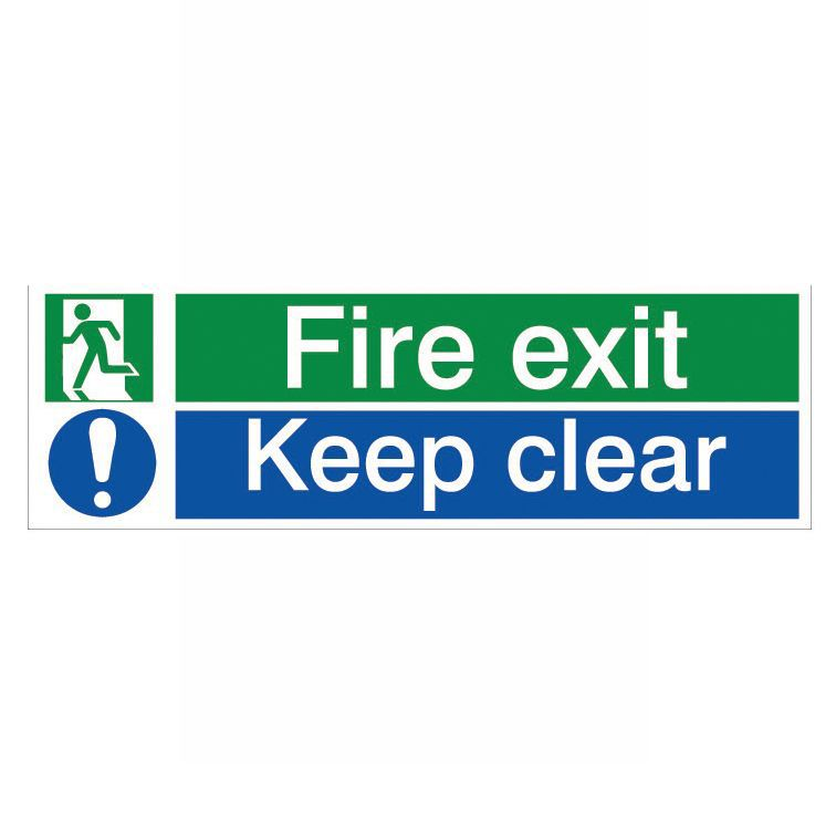 The House Nameplate Company Pvc Self Adhesive Fire Exit & Keep Clear Sign (h)125mm (w)400mm