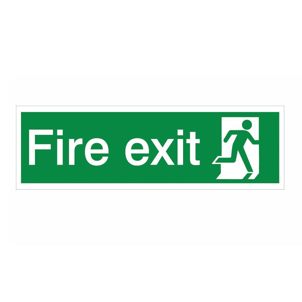 The House Nameplate Company Pvc Self Adhesive Fire Exit Running Man Right Sign (h)125mm (w)400mm