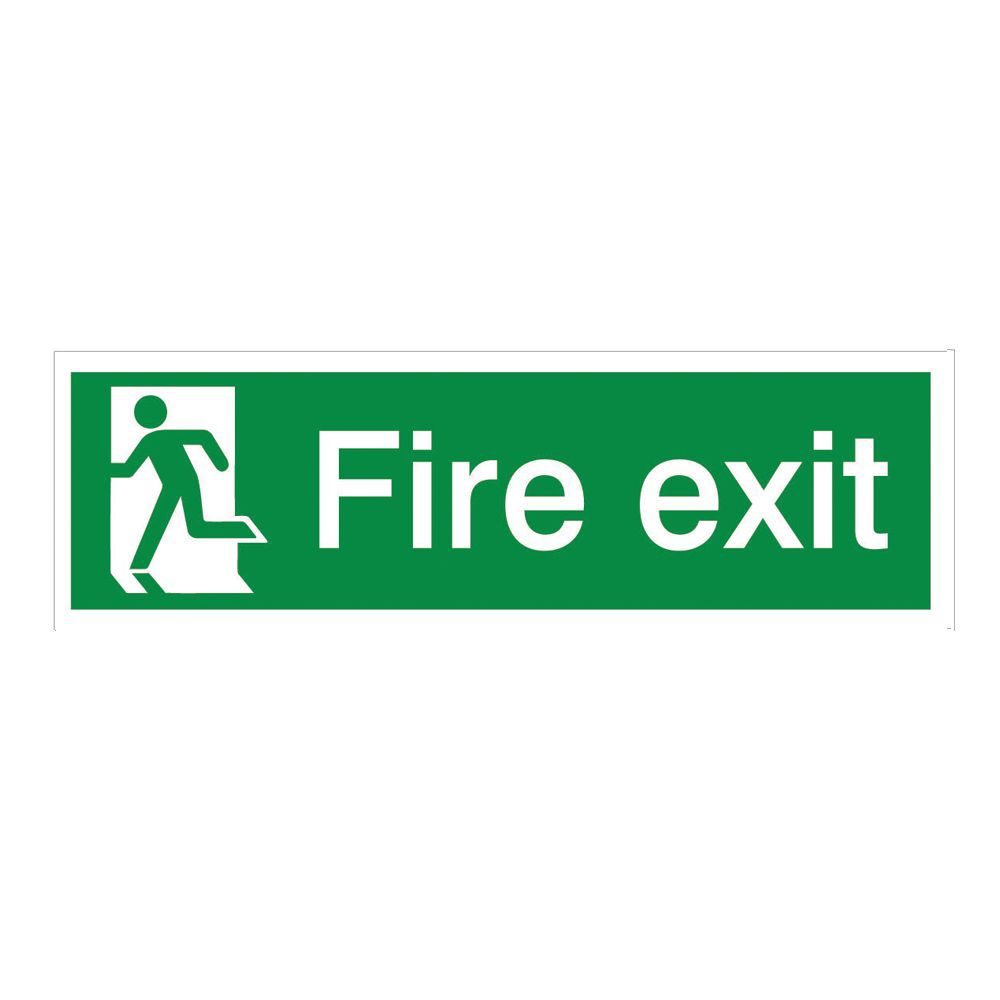 The House Nameplate Company Pvc Self Adhesive Fire Exit Running Man Left Sign (h)125mm (w)400mm
