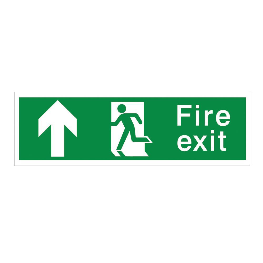 The House Nameplate Company Pvc Self Adhesive Fire Exit Arrow Up Sign (h)125mm (w)400mm