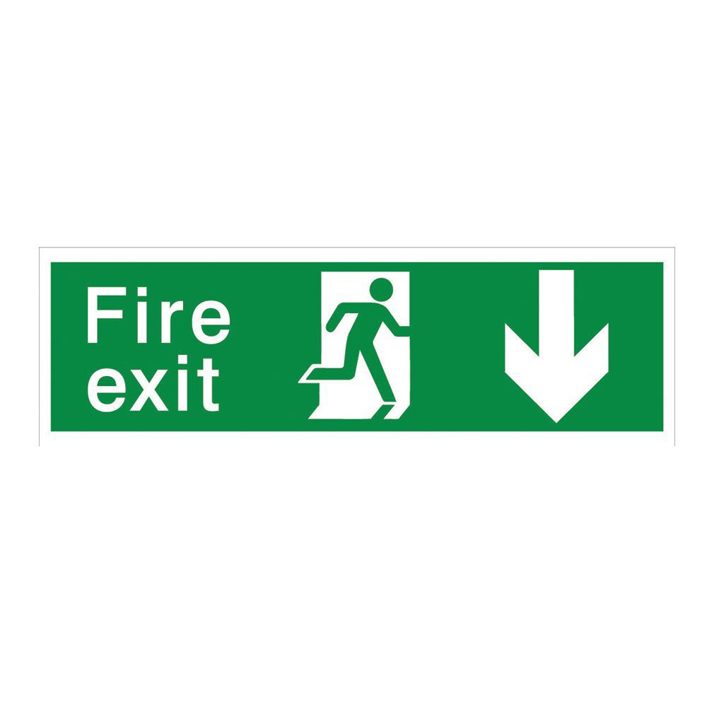 The House Nameplate Company Pvc Self Adhesive Fire Exit Arrow Back Sign (h)125mm (w)400mm