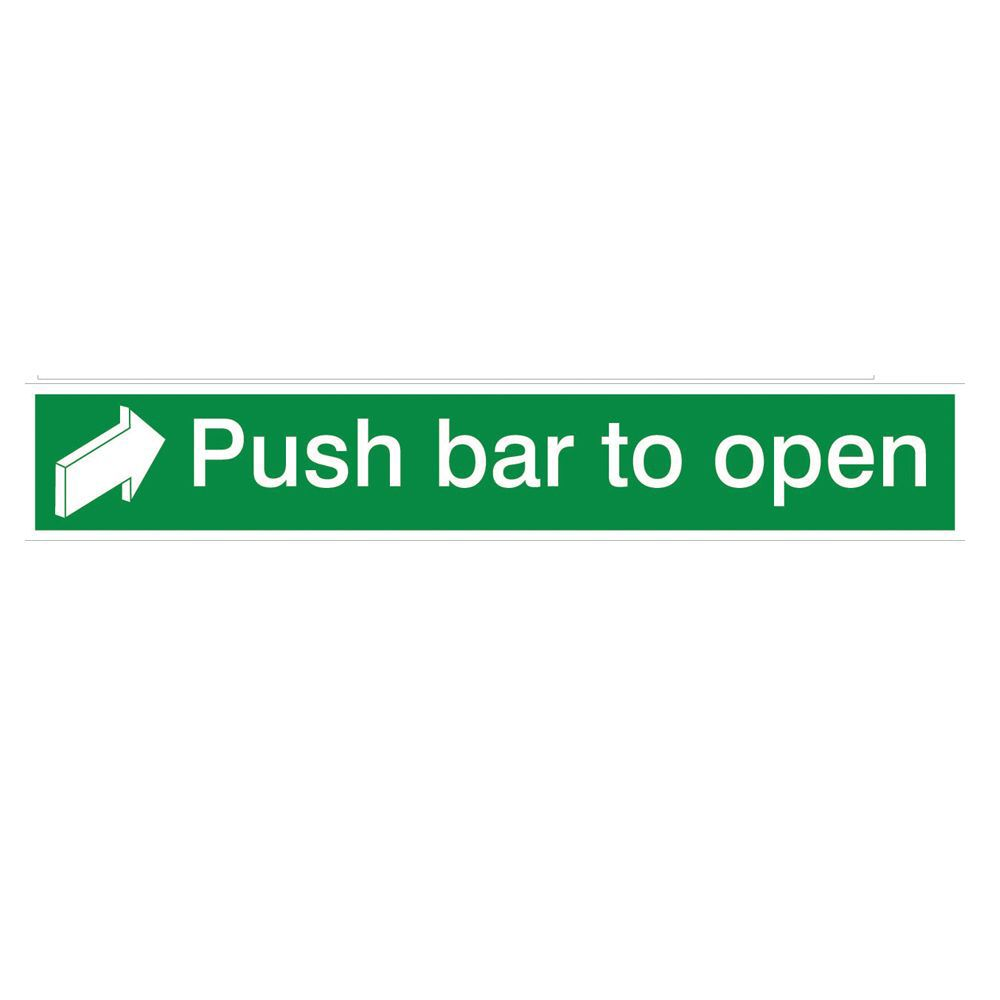 The House Nameplate Company Pvc Self Adhesive Fire Exit Push Bar To Open Sign (h)75mm (w)450mm