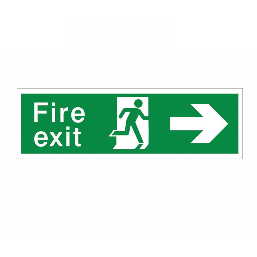 The House Nameplate Company Pvc Self Adhesive Fire Exit Arrow Right Sign (h)125mm (w)400mm