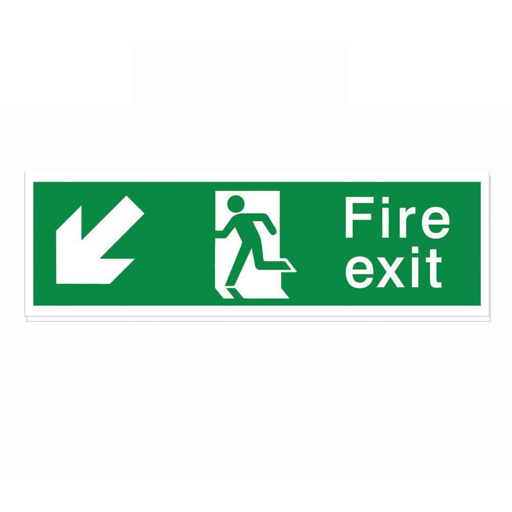 The House Nameplate Company Pvc Self Adhesive Fire Exit Arrow Down Left Sign (h)125mm (w)400mm