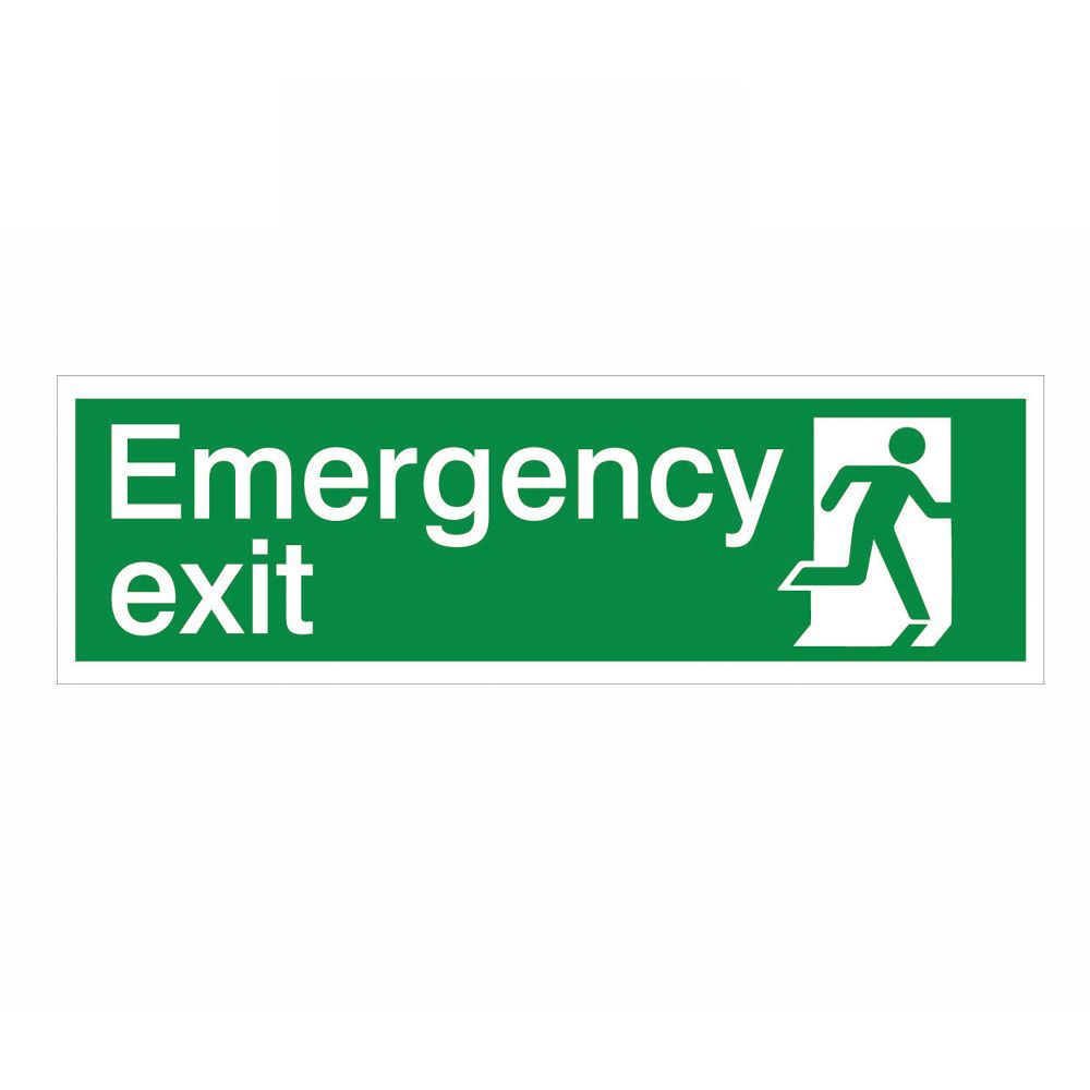 The House Nameplate Company Pvc Self Adhesive Emergency Exit Running Man Left Sign (h)125mm (w)400mm