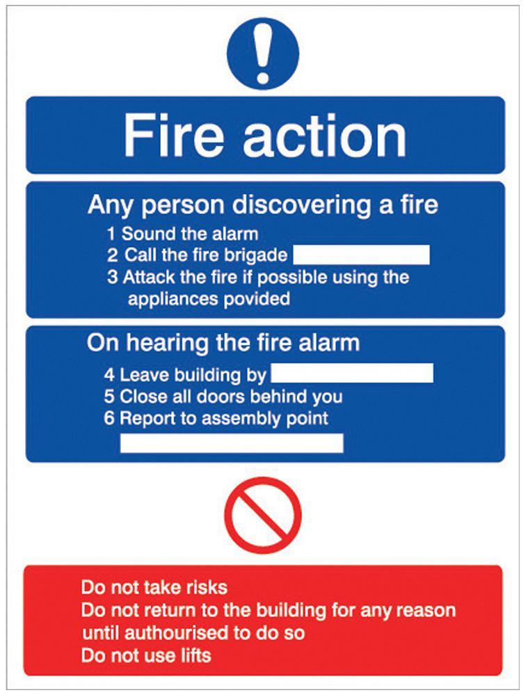The House Nameplate Company Pvc Self Adhesive Fire Action Information Sign (h)200mm (w)150mm