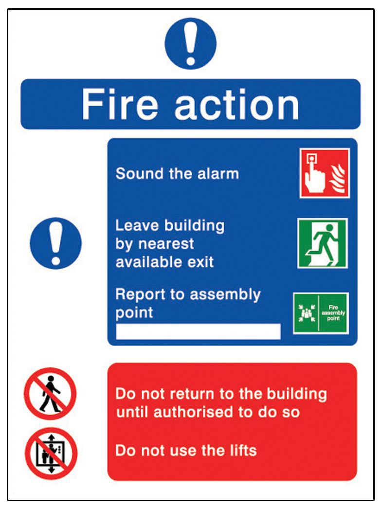 The House Nameplate Company Pvc Self Adhesive Fire Action Sign (h)200mm (w)150mm