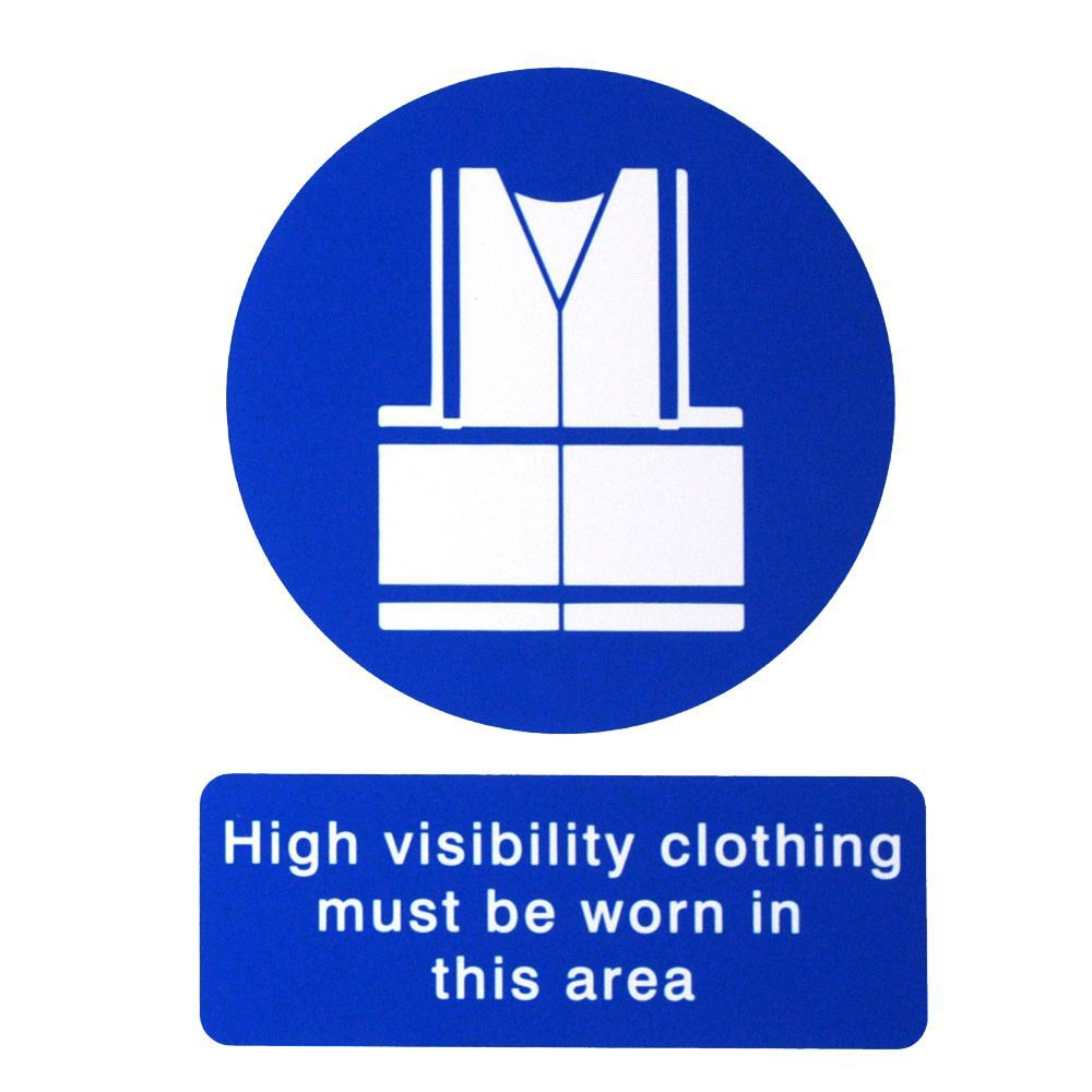 The House Nameplate Company Pvc Self Adhesive High Visibility Clothing Must Be Worn Sign (h)200mm (w)150mm
