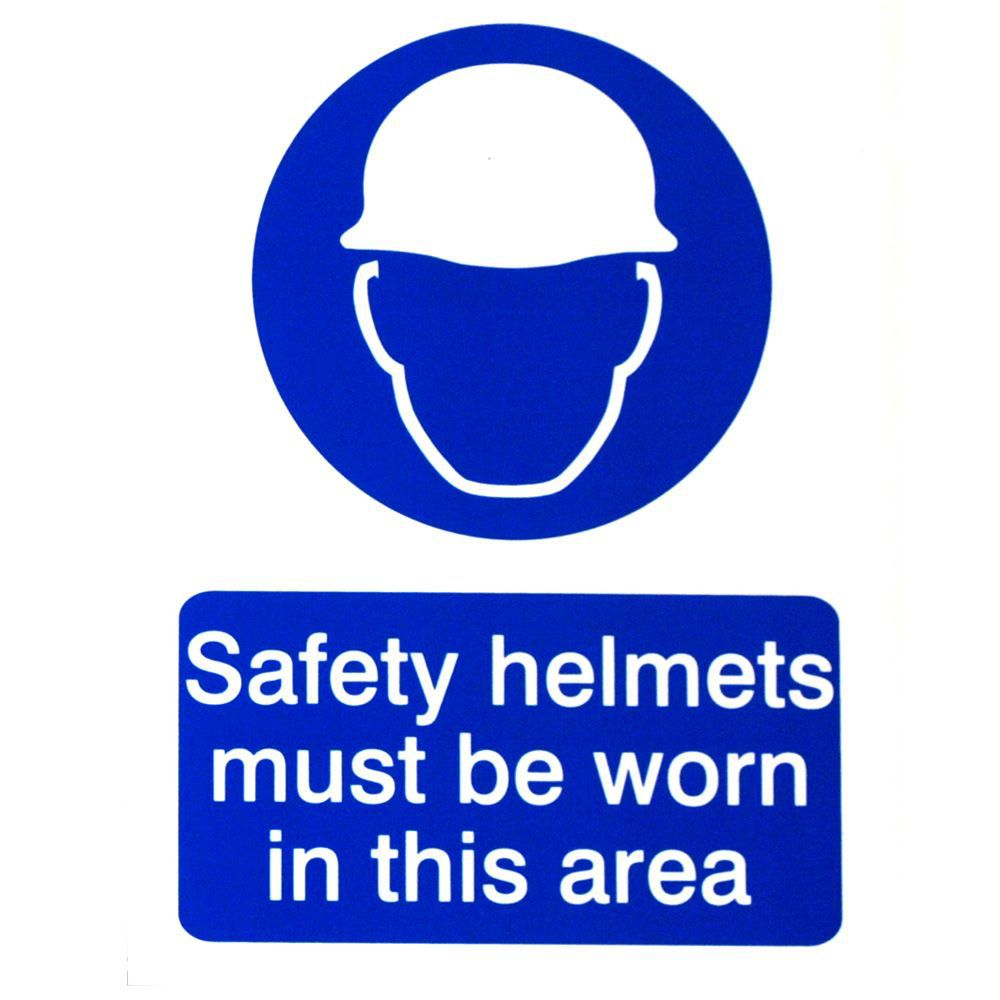 The House Nameplate Company Pvc Self Adhesive Safety Helmets Must Be Worn Sign (h)200mm (w)150mm