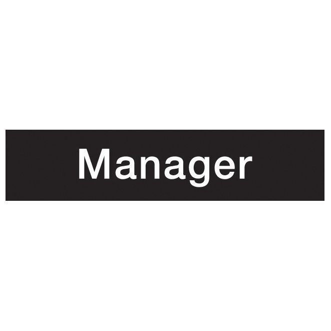 The House Nameplate Company Pvc Self Adhesive Manager Sign (h)50mm (w)200mm