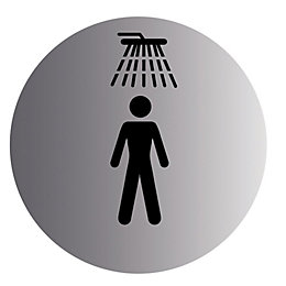 Stainless Steel Self Adhesive Shower Symbol (Dia)115mm