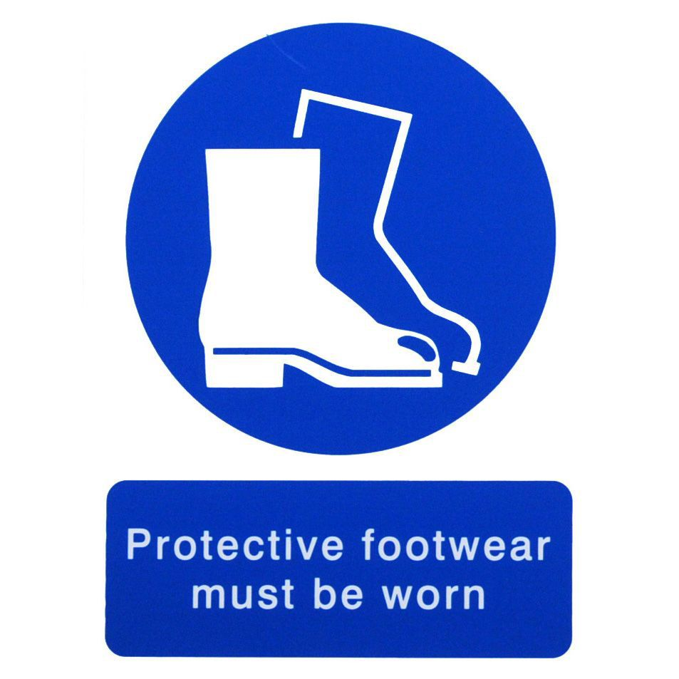 The House Nameplate Company Pvc Self Adhesive Protective Footwear Must Be Worn Sign (h)200mm (w)150mm