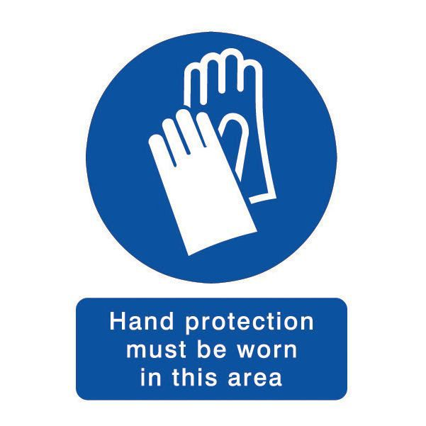 The House Nameplate Company Pvc Self Adhesive Hand Protection Must Be Worn Sign (h)200mm (w)150mm