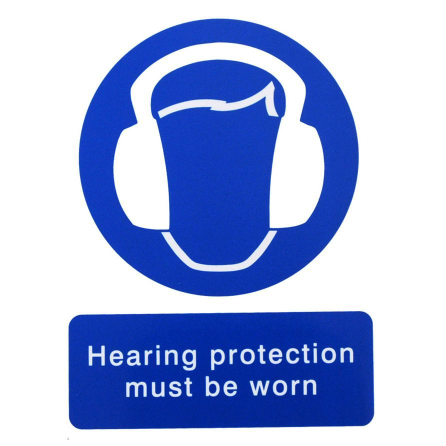 The House Nameplate Company Pvc Self Adhesive Hearing Protection Must Be Worn Sign (h)200mm (w)150mm