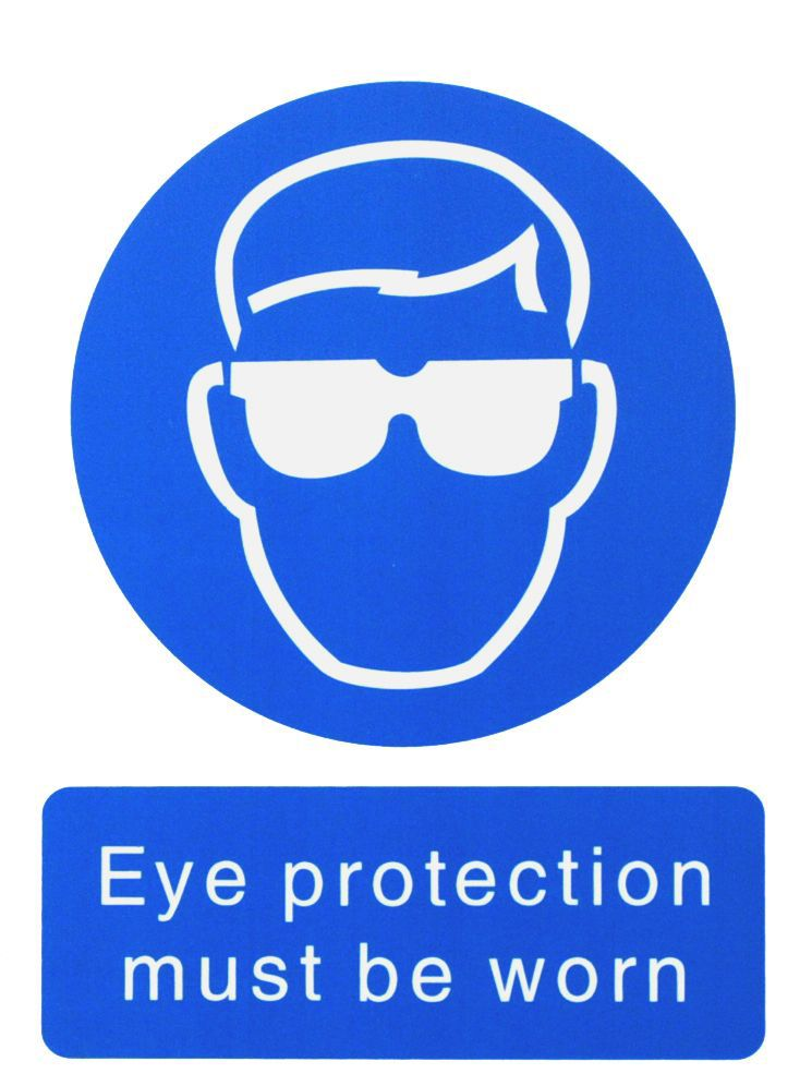 The House Nameplate Company Pvc Self Adhesive Eye Protection Must Be Worn Sign (h)200mm (w)150mm