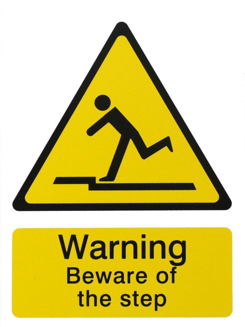 The House Nameplate Company Pvc Self Adhesive Danger Beware Of Step Sign (h)200mm (w)150mm