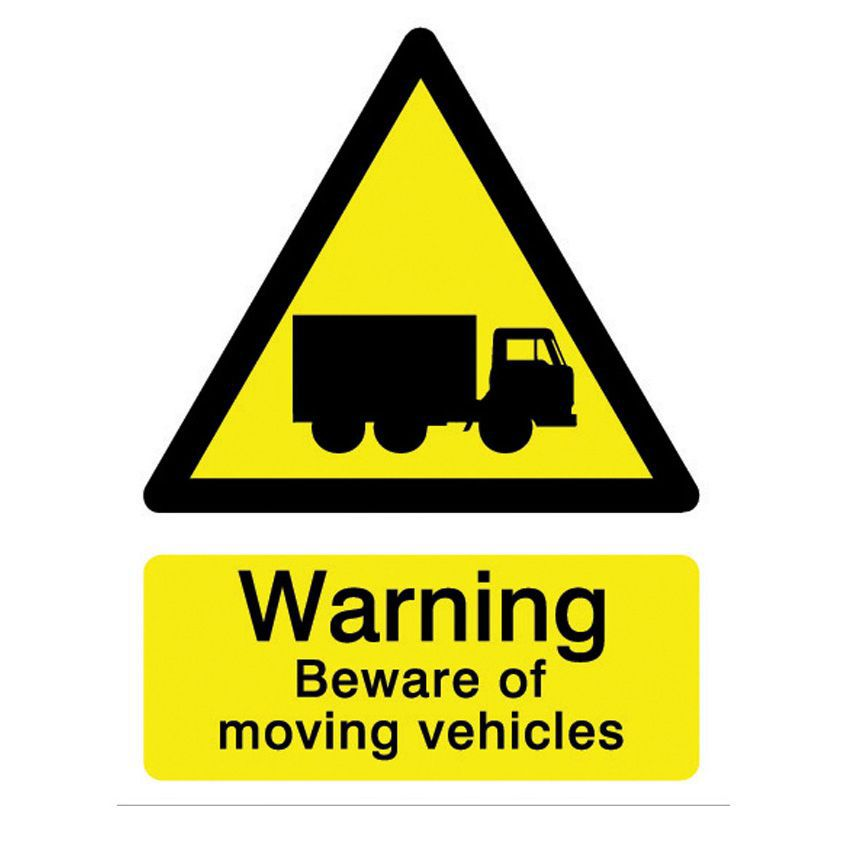 The House Nameplate Company Pvc Self Adhesive Warning Beware Of Moving Vehicle Sign (h)200mm (w)150mm