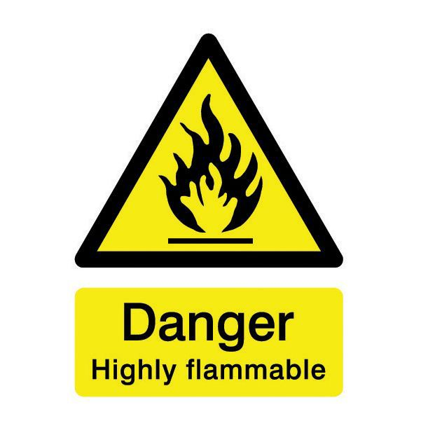 The House Nameplate Company Pvc Self Adhesive Danger Highly Flammable Sign (h)200mm (w)150mm