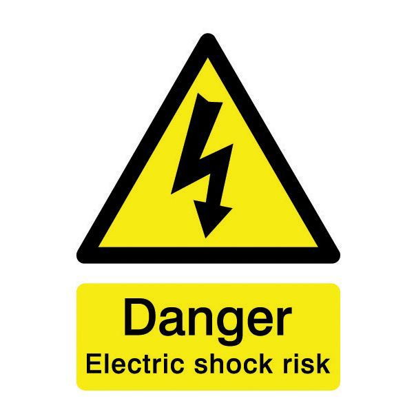 The House Nameplate Company Pvc Self Adhesive Electric Shock Risk Sign (h)200mm (w)150mm