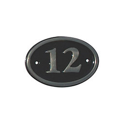 Black Brass House Plate Number 12