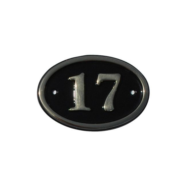 Black Brass House Plate Number 17