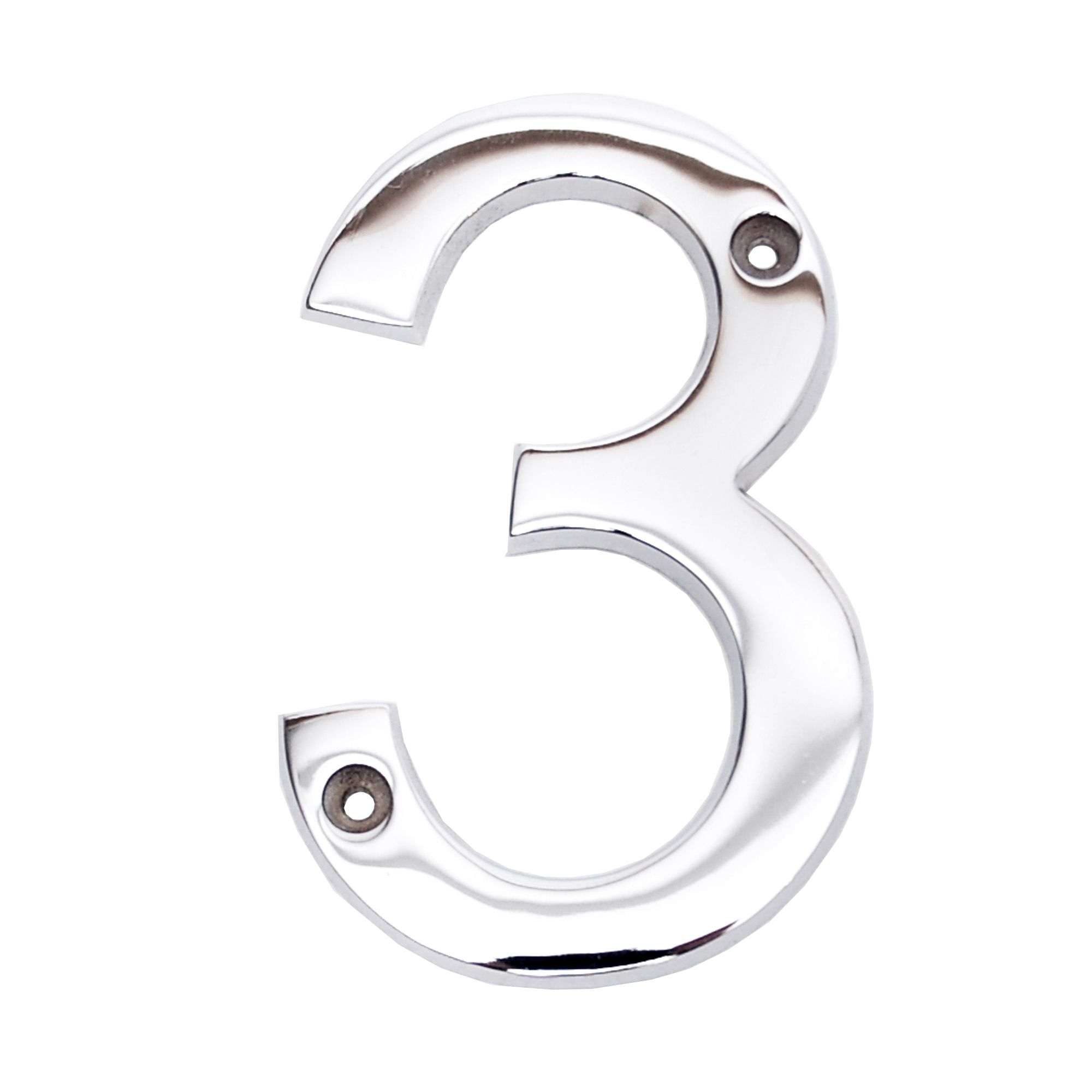 Chrome-plated Zinc Contemporary 100mm House Number 3