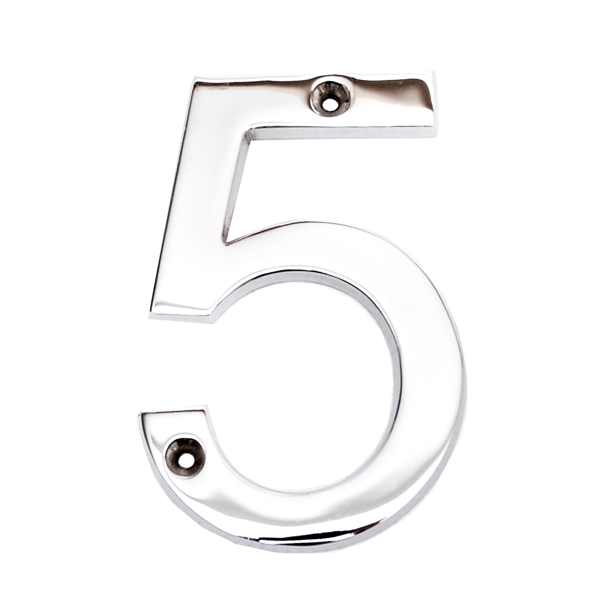 Chrome-plated Zinc Contemporary 100mm House Number 5