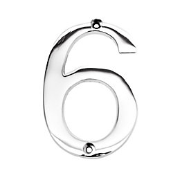 Chrome-Plated Zinc Contemporary 100mm House Number 6