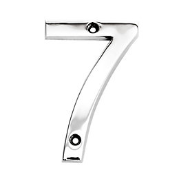 Chrome-Plated Zinc Contemporary 100mm House Number 7