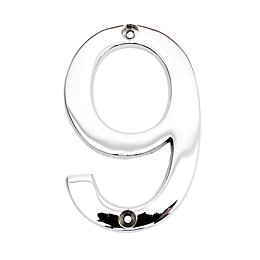 Chrome-Plated Zinc Contemporary 100mm House Number 9