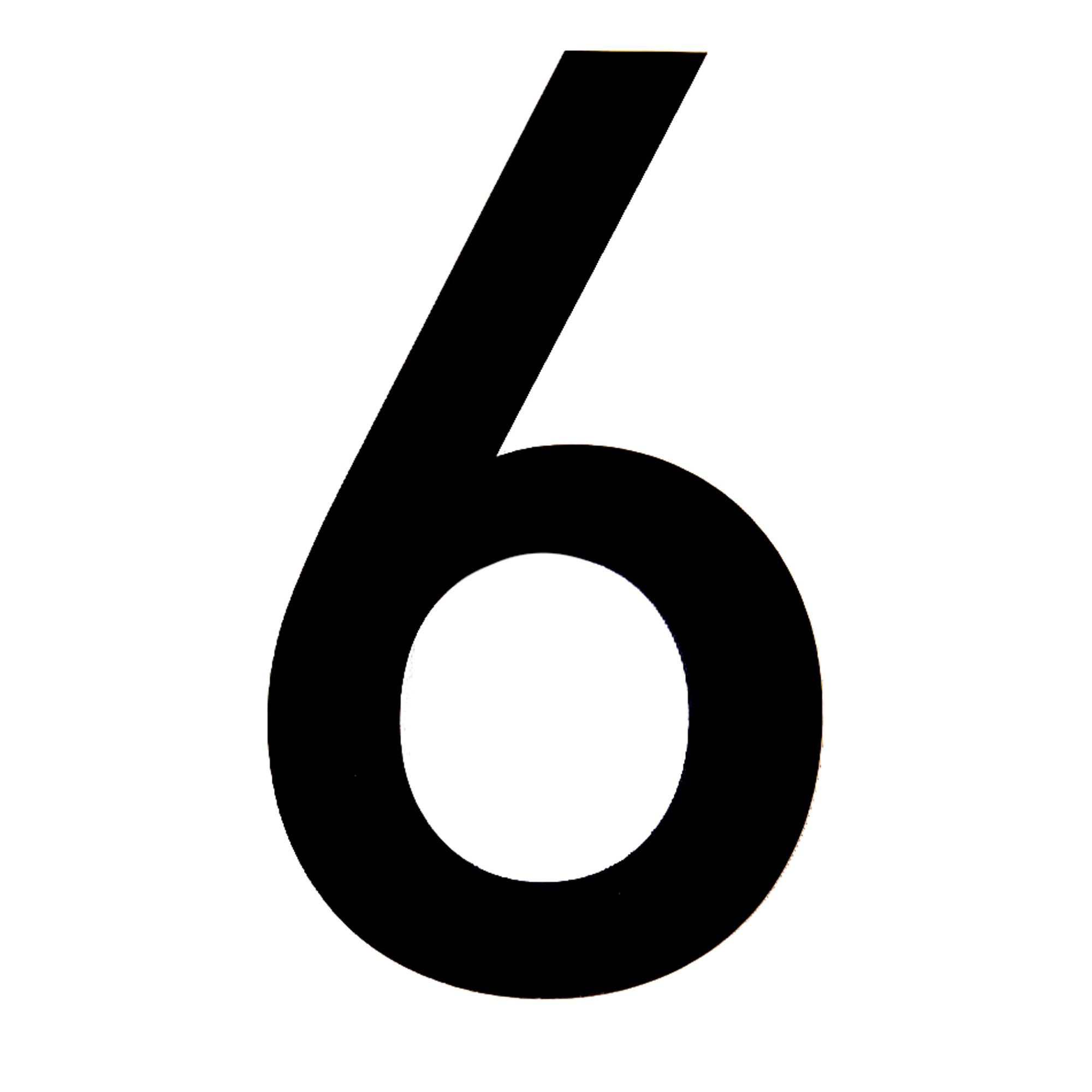Black Pvc 150mm House Number 6 Departments Diy At B Amp Q