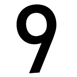 Black PVC 250mm House Number 9