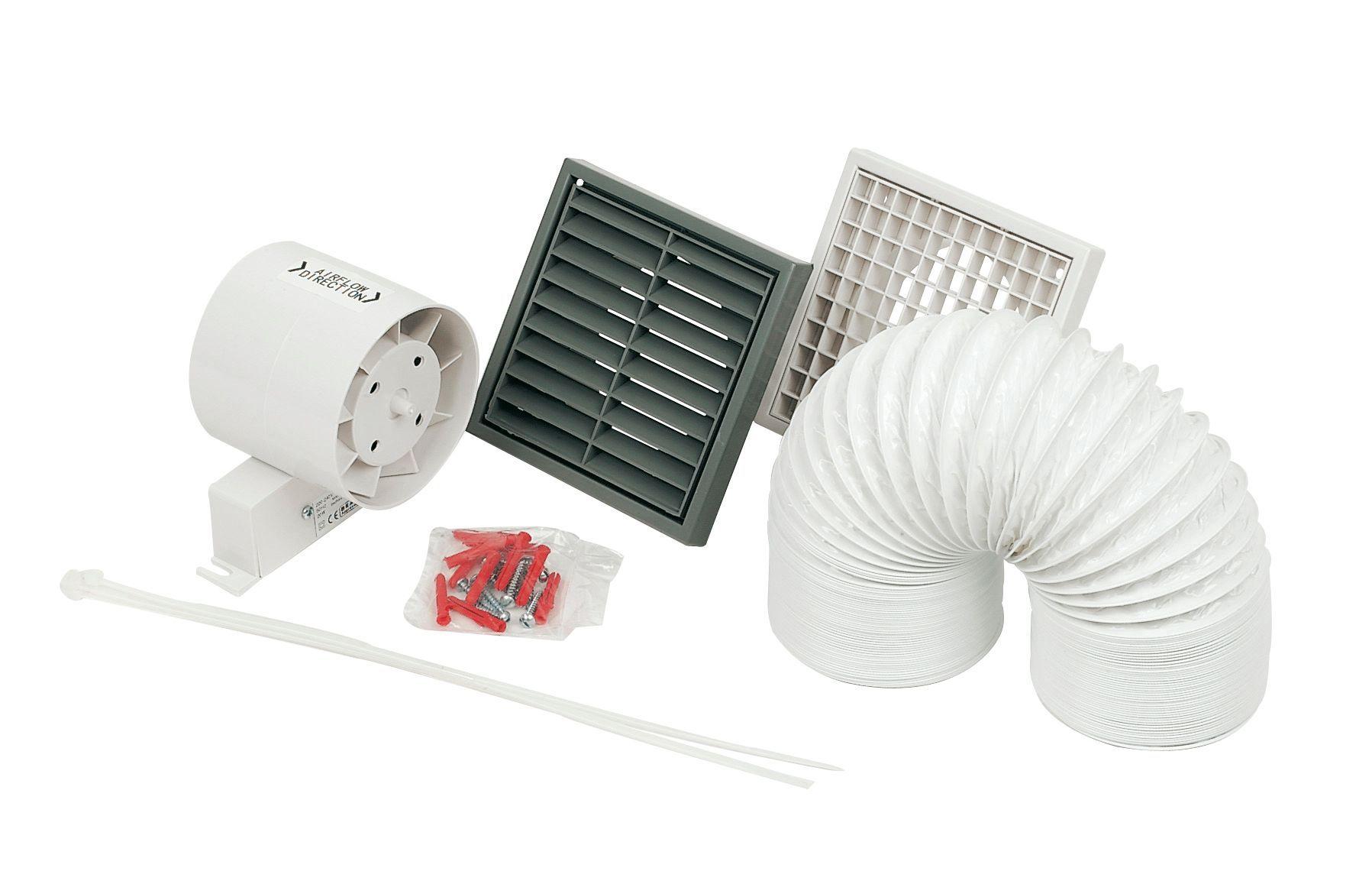 Manrose white shower light extractor fan kit w 140mm for Bathroom extractor fan kit
