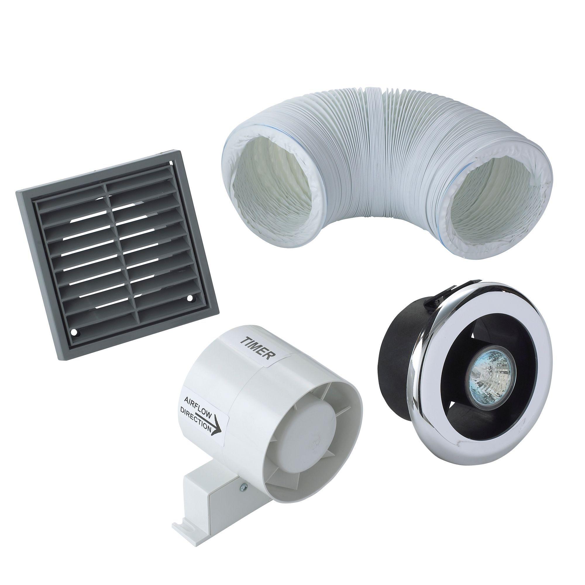 Manrose Vdisl100t Shower Light Bathroom Extractor Fan Kit With Timer (d)98mm