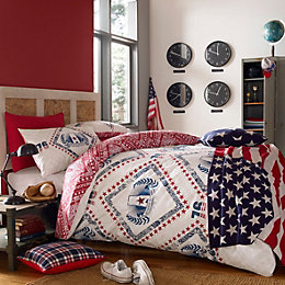 American Freshman Cooper Red & Navy Single Bedset