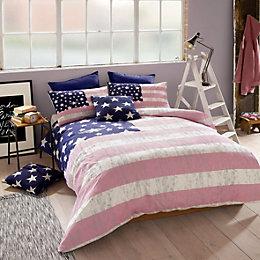 American Freshman Lenox Pink & Blue Double Bed