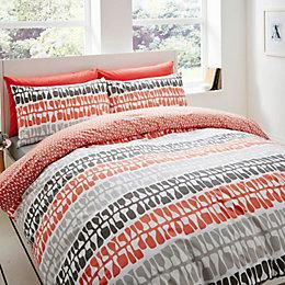 Lotta Jansdotter Follie Patterned Coral Kingsize Bed Set