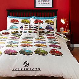 VW Beetle Multicolour Double Bed Set