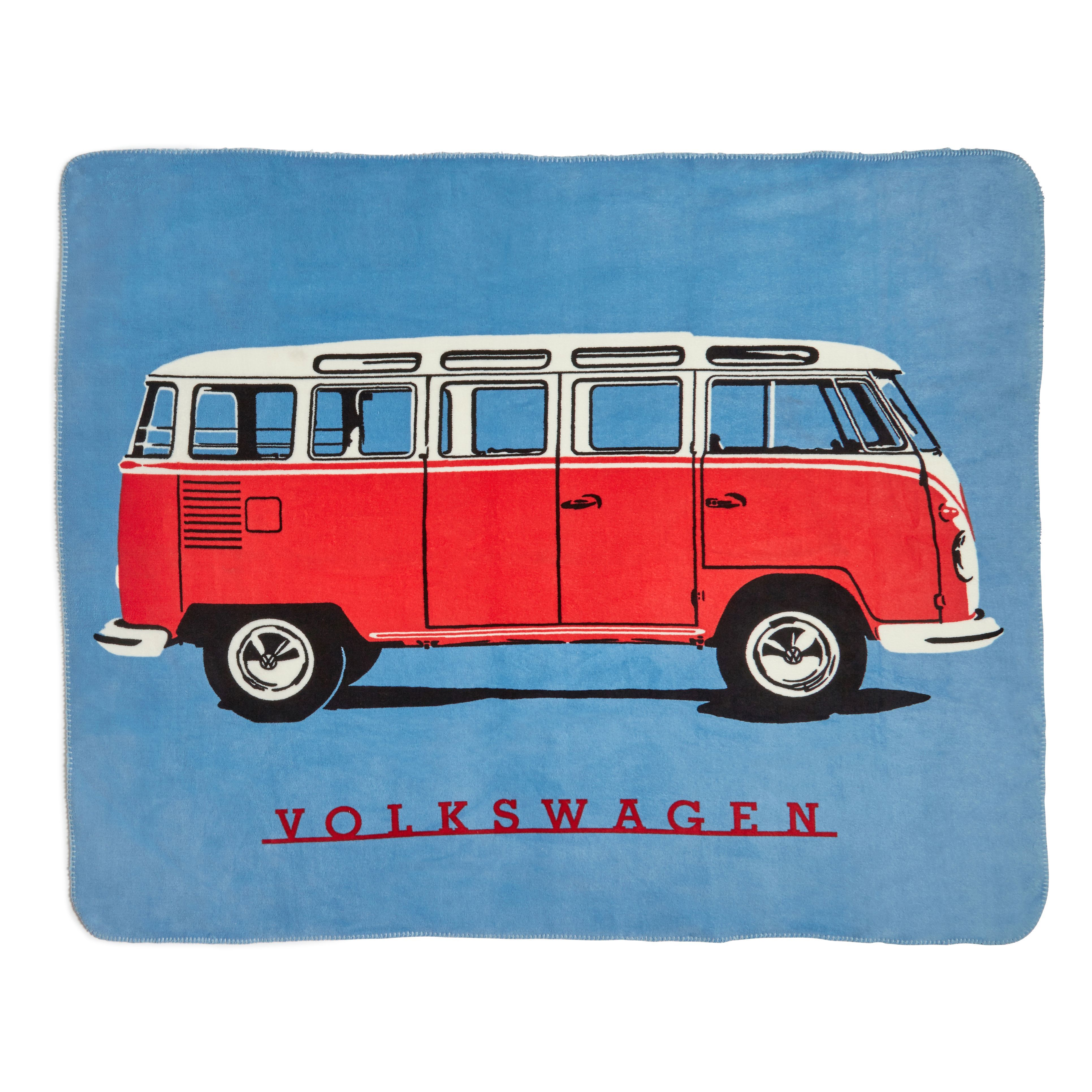 Vw King Of The Road Blue Print Knitted Throw