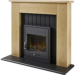 Henson Oak & Black LED Electric Stove Suite