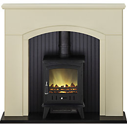 Rotherham Stone & Black LED Electric Stove Suite