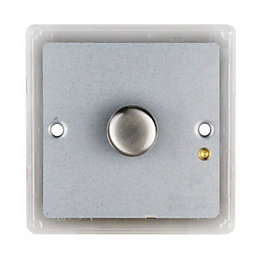 Colours 1-Way Single Brushed Steel Effect Switch