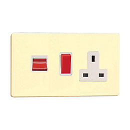 Varilight 45A Double Pole White Chocolate Cooker Switch