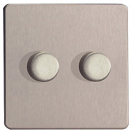 Varilight 2-Way Double Brushed Silver Effect Dimmer Switch