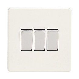 Varilight 10A 2-Way Ice White Triple Light Switch