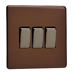 Varilight 10A 2-Way Mocha Triple Light Switch