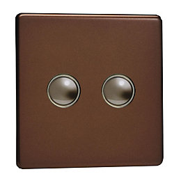 Varilight 6A 2-Way Mocha Double Push Light Switch