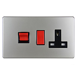 Varilight 45A Double Pole Satin Cooker Panel with