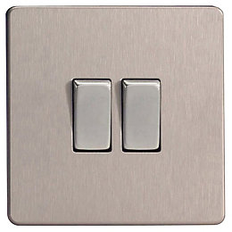 Varilight 10A 2-Way Brushed Steel Double Switch